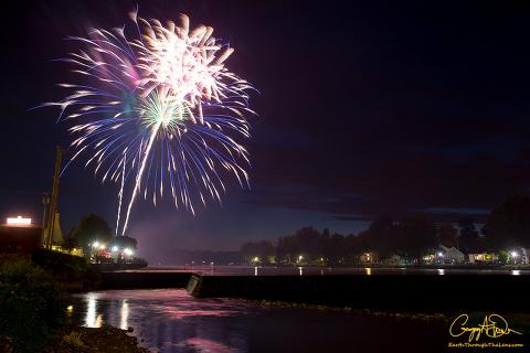 Paper Mill Island Fireworks in Baldwinsville