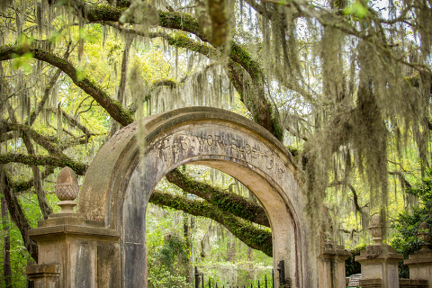 The main entrance to Wormsloe State Park in Savannah, Georgia.