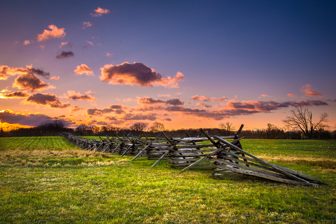 A fence on the battlefield in Gettysburg, Pennsylvania.